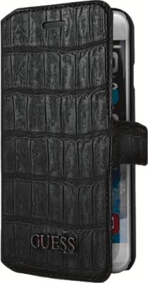 Kožené pouzdro na mobil iPhone 4S Guess Croco GUFLHP4CMB černý