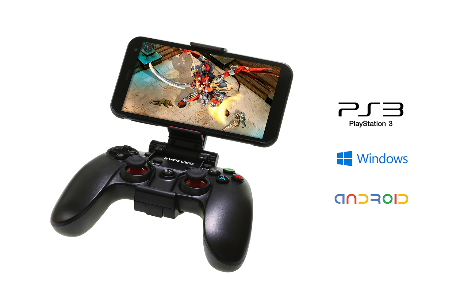 Bezdrátový gamepad EVOLVEO Fighter F1, pro PC, PlayStation 3, Android box/smartphone