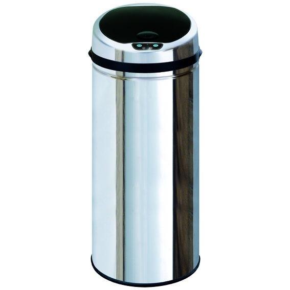 Effective bezdotykový odpadkový koš 50 L, nerezový, senzorový, kulatý
