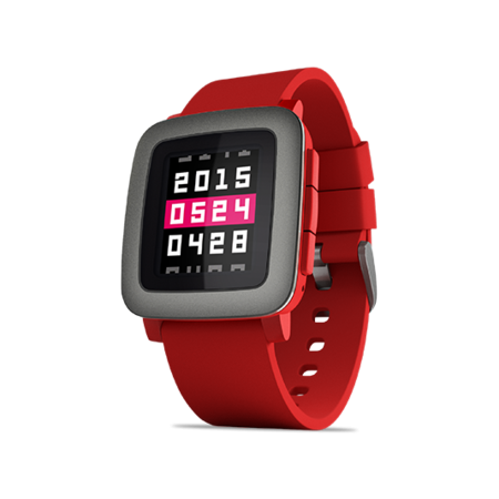 Pebble Time Smartwatch, Red