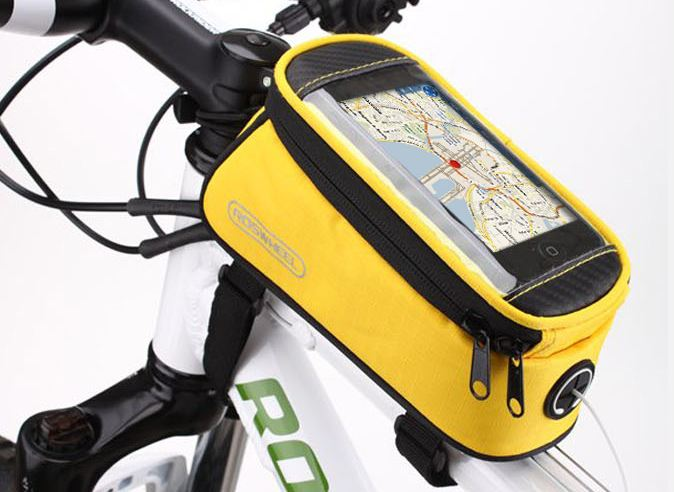 "Držák Roswheel na kolo s kapsou na telefon velikost displeje 5,5"" žlutý"