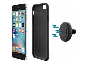 Držák do auta do mřížky ventilátoru s magnetickým krytem Puro pro Apple iPhone 6/6s, černý