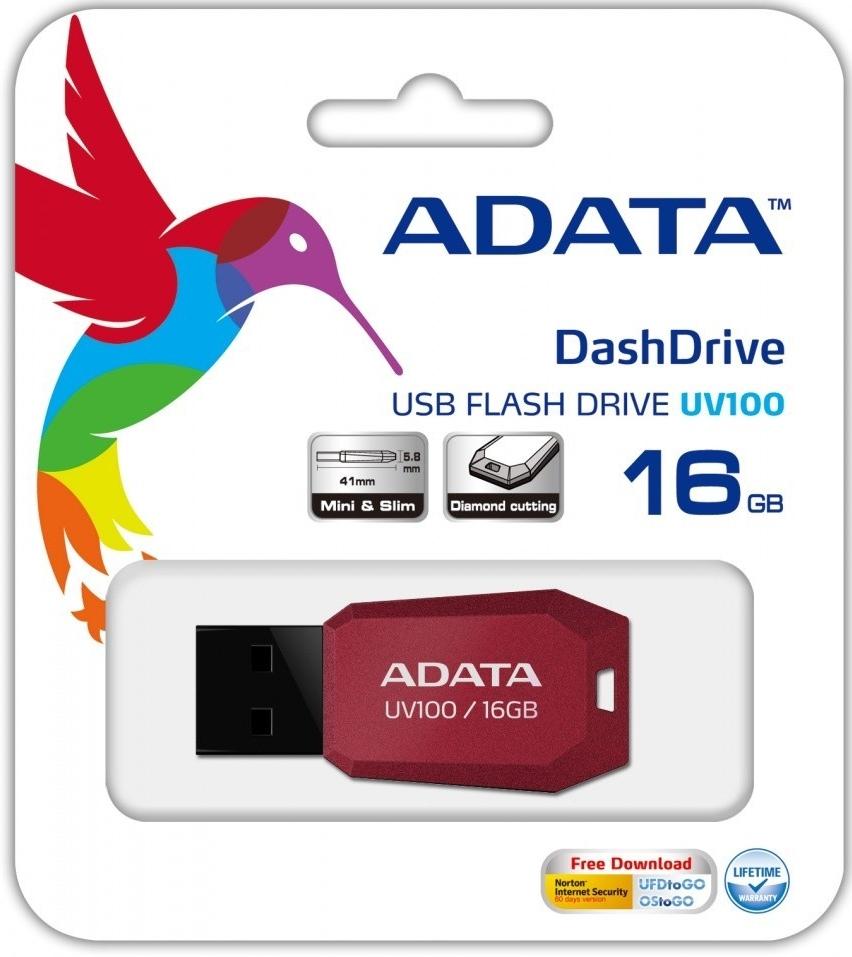 ADATA UV100 Flash 16GB, USB 2.0 červený
