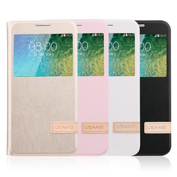 USAMS Muge S-View Pouzdro flip Samsung Galaxy J1 2016 Rose Gold