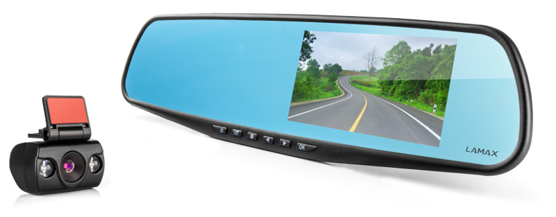 LAMAX Drive C5 Dual - kamera se zpětným zrcátkem do auta