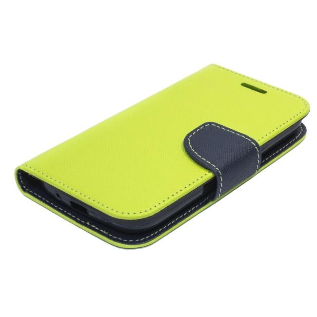 Flipové pouzdro pro Samsung Galaxy S5 mini (G800) Fancy Diary, limetkovo-modré