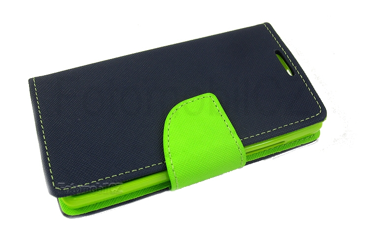 Flipové pouzdro pro Sony Xperia M4 Aqua Fancy Diary modro/limetkové