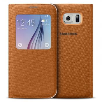 Flipové pouzdro na Samsung Galaxy S6 EF-CG920BOE S-View oranžové (EU Blister)
