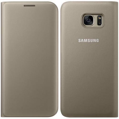 Flipové pouzdro typ peněženka pro Samsung S7 Edge, zlaté