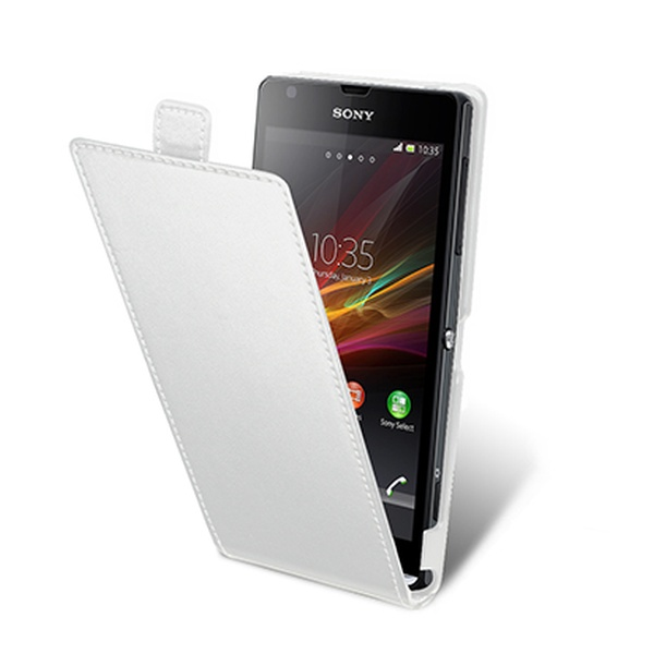 Pouzdro MUVIT Flap pro Sony Xperia SP, slim provedení, PU kůže, bílé