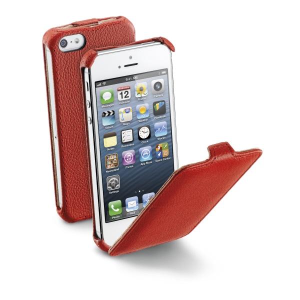 Pouzdro flap CellularLine FLAP pro Apple iPhone 5/5S, PU kůže, červené