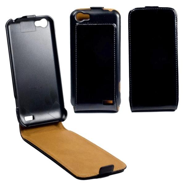 Flipové pouzdro kožené OZBO FLIP Premium pro HTC One V, černé