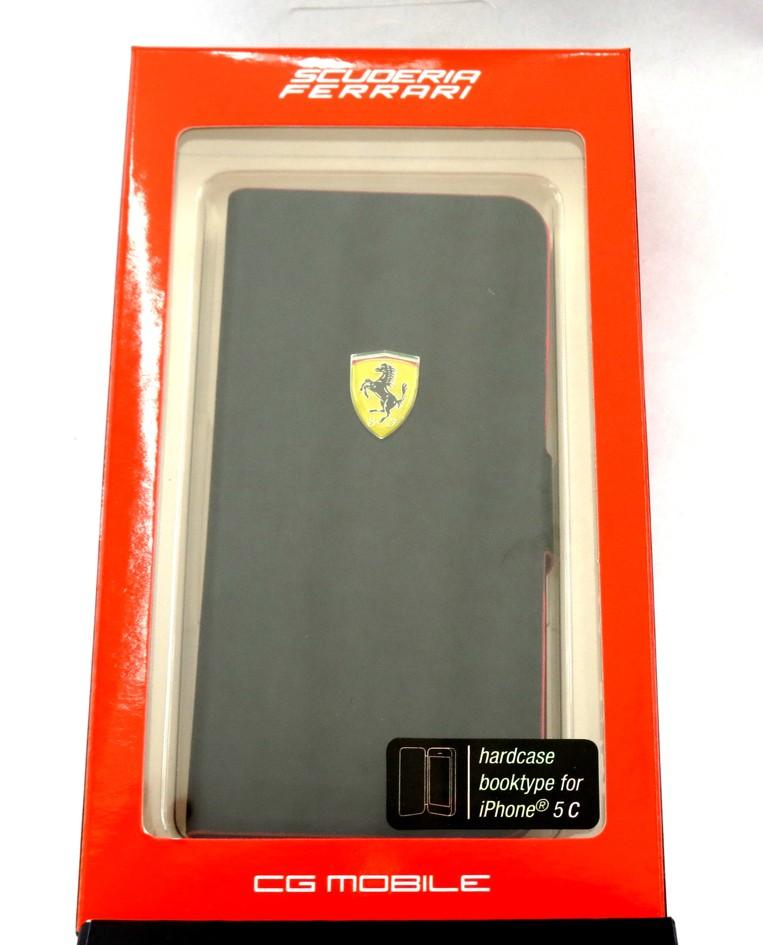 Kožené otevírací pouzdro FESCRUFLHPMB Ferrari Rubber Book pro Samsung i9195 Galaxy S4 mini Black