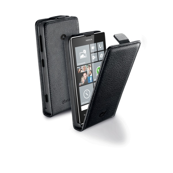 Pouzdro CellularLine Flap Essential pro Nokia Lumia 520, PU kůže, černé