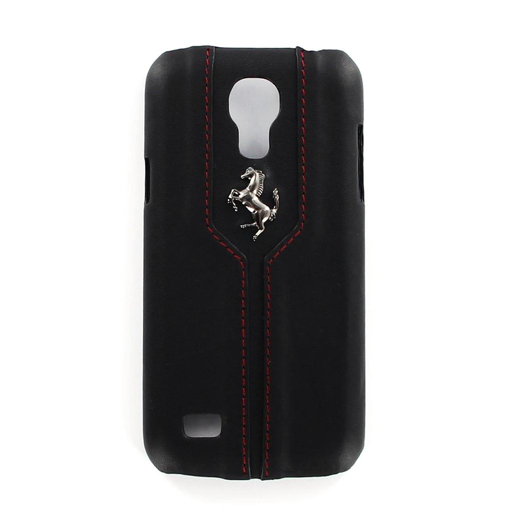 Pouzdro FEMTHCS4MBL Ferrari Monte Carlo Zadní Kožený Kryt pro Galaxy S4 mini (i9195) Black