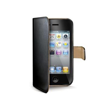 Pouzdro typu kniha CELLY Wally pro Apple iPhone 4/4S černé