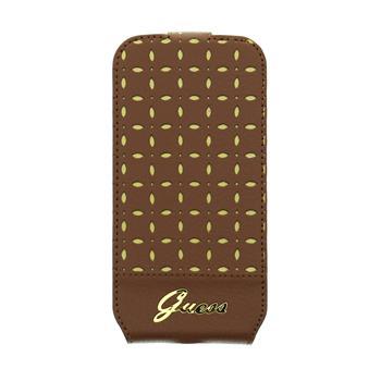 GUFLS4MPEC Guess Gianina Flip Kožené Pouzdro Cognac pro Samsung i9195 Galaxy S4mini