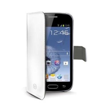Kožené pouzdro CELLY Wally Flip pro Samsung Galaxy S7562 S Duos/S7560 Trend, bílé