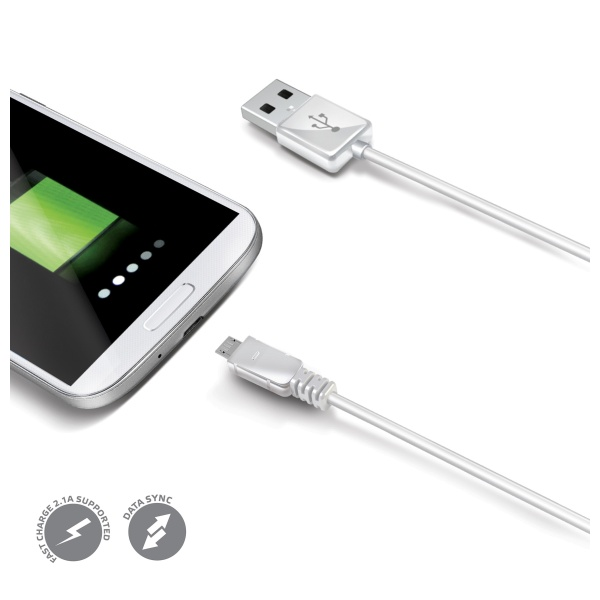 Datový USB kabel CELLY s konektorem microUSB, white