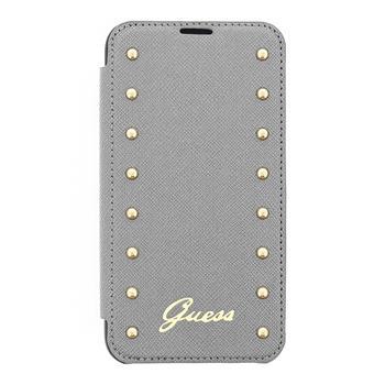 Kožené pouzdro Guess Studded Folio GUFLBKS5SAS pro Samsung G900 Galaxy S5, stříbrné