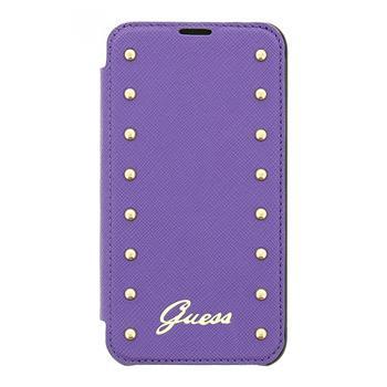 Kožené pouzdro Guess Studded Folio GUFLBKS5SAV pro Samsung G900 Galaxy S5, fialové