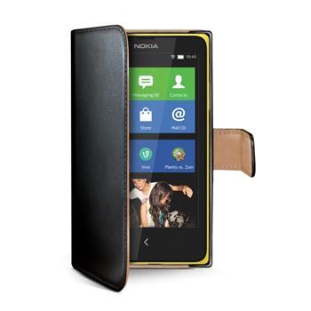 Ochranné kožené pouzdro typu kniha CELLY Wally pro Nokia Lumia 630, černé