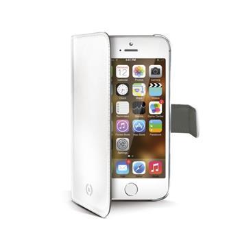 Ochranné kožené pouzdro typu kniha CELLY Wally pro Apple iPhone 5/5S, bílé