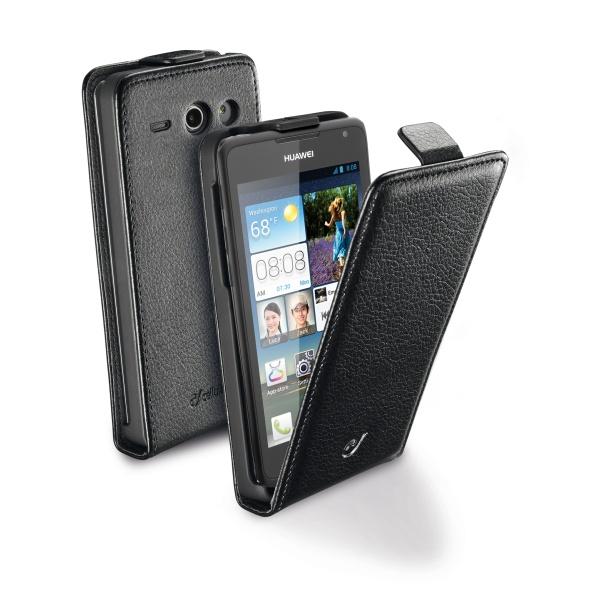 Kožené pouzdro CellularLine Flap Essential pro Huawei Ascend Y530, černé