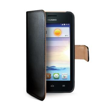Kožené pouzdro CELLY Wally Flip pro Huawei Ascend Y330, černé