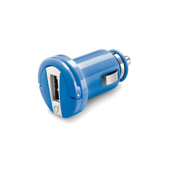 Mini autonabíječka CellularLine s USB výstupem, 1A, modrá
