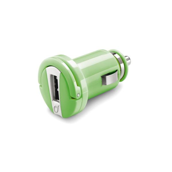 Mini autonabíječka CellularLine s USB výstupem, 1A, zelená