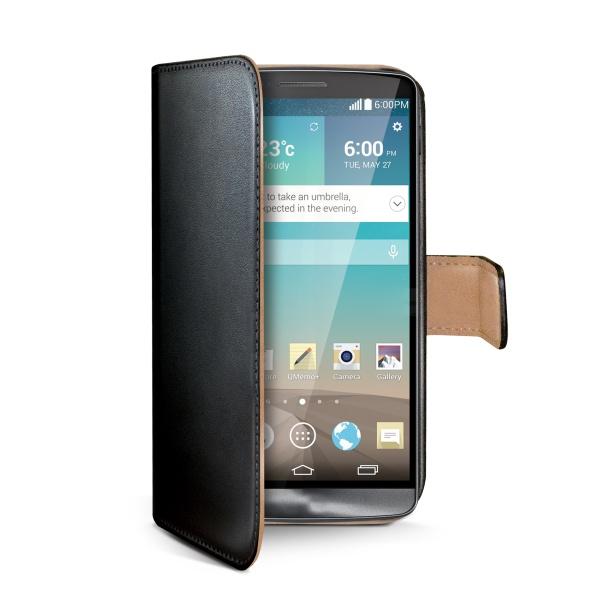 Ochranné kožené pouzdro typu kniha CELLY Wally pro LG G3 (D855), černé