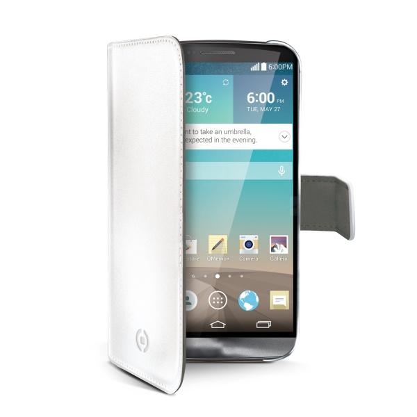 Ochranné kožené pouzdro typu kniha CELLY Wally pro LG G3 (D855), bílé