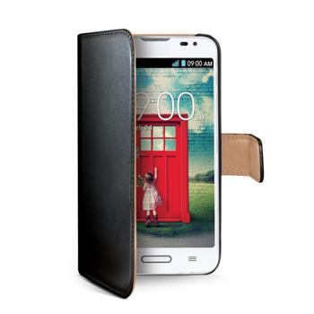 Ochranné kožené pouzdro typu kniha CELLY Wally pro LG L70 (D320), černé