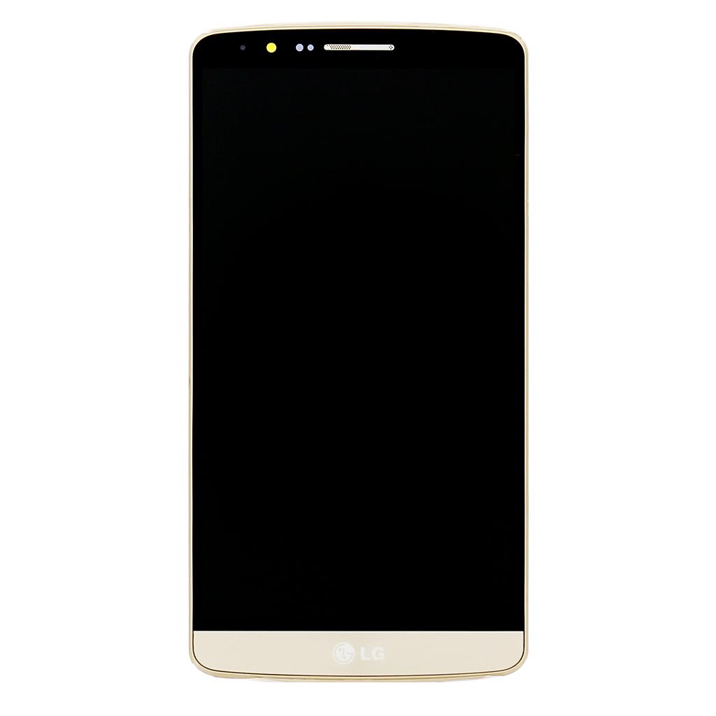 LCD Display + Dotyková Deska + Přední Kryt Gold pro LG D855 G3 - originál