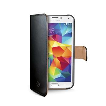 Kožené pouzdro CELLY Wally Flip pro Samsung G800 Galaxy S5 mini, černé