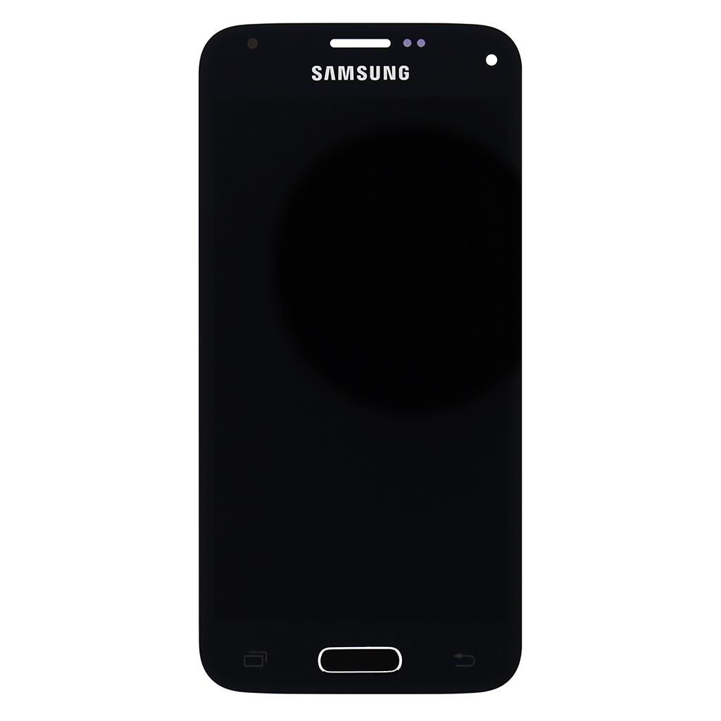 LCD Display + Dotyková Deska + Přední Kryt Black pro Samsung G800 Galaxy S5 mini - originál