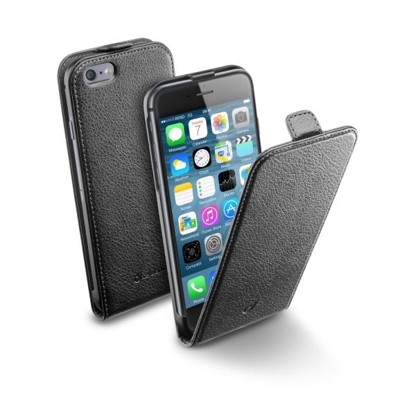 Kožené pouzdro CellularLine Flap Essential pro Apple iPhone 6, černé