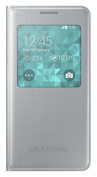 Samsung Flip pouzdro S-view EF-CG850BS Galaxy Alpha Silver