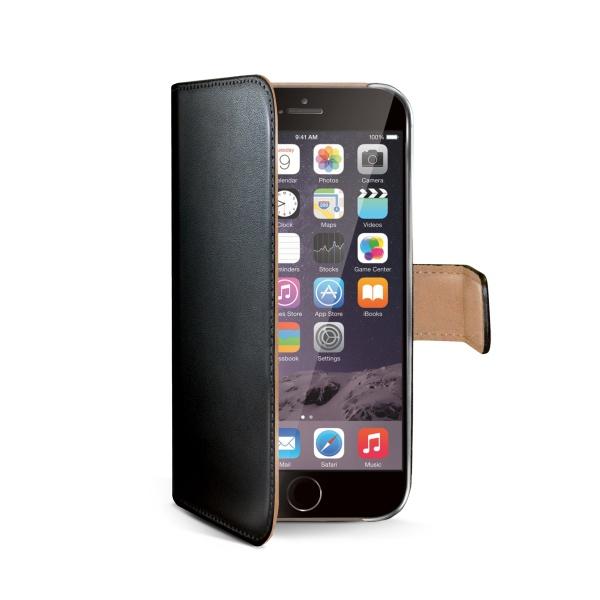 Ochranné kožené pouzdro typu kniha CELLY Wally pro Apple iPhone 6 Plus, černé