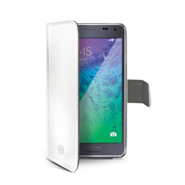 Pouzdro typu kniha CELLY Wally pro Samsung Galaxy Alpha, PU kůže, bílé
