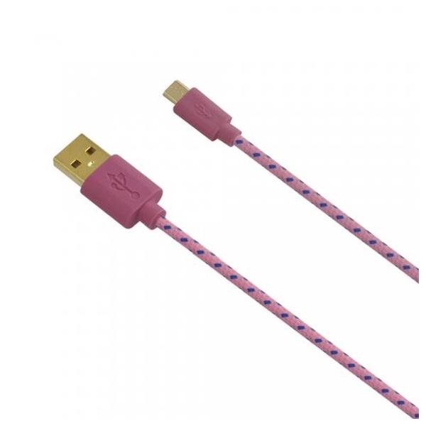 Datový kabel Fontastic Fancy s textilním obalem, 1m, růžový