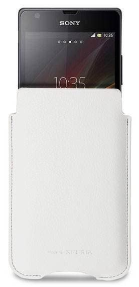 Kožené pouzdro Roxfit Vertical Slip pro Sony C5303 Xperia SP, bílé