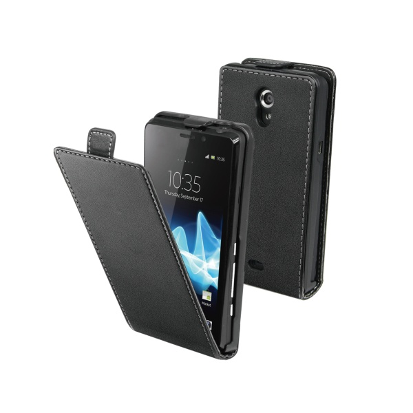 Kožené pouzdro Made for Xperia Flap Slim pro Sony ST26e Xperia J, černé