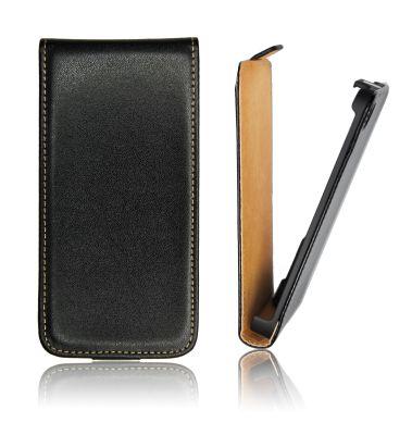Kožené pouzdro ForCell Slim Flip pro HTC M8, černé - VÝPRODEJ!!