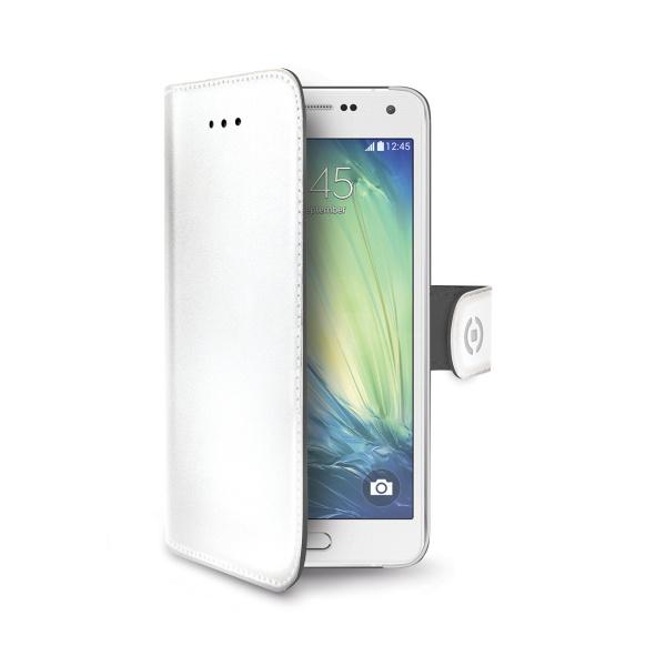 Kožené pouzdro typu kniha CELLY Wally pro Samsung A5 Galaxy A500, bílé