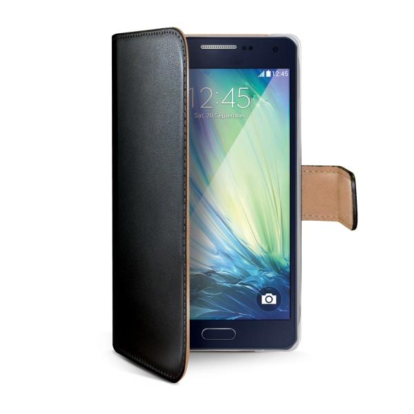 Kožené pouzdro typu kniha CELLY Wally pro Samsung A500 Galaxy A5, černé