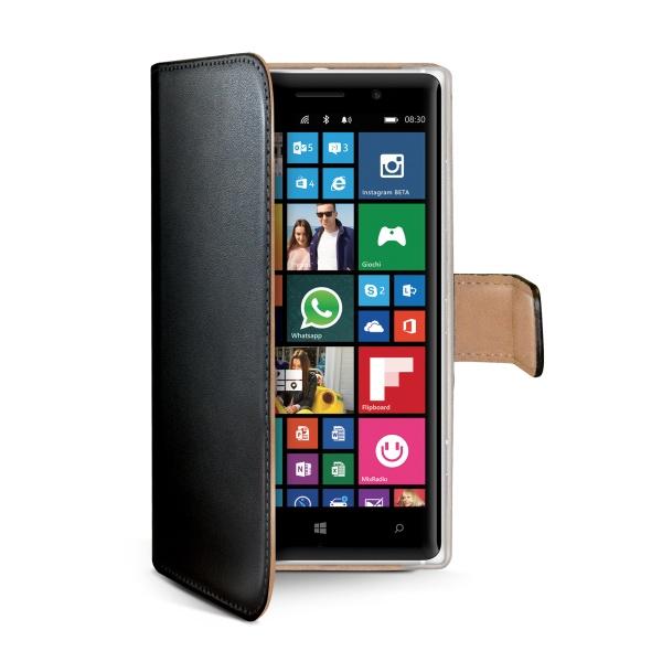 Kožené pouzdro typu kniha CELLY Wally pro Nokia Lumia 830, černé