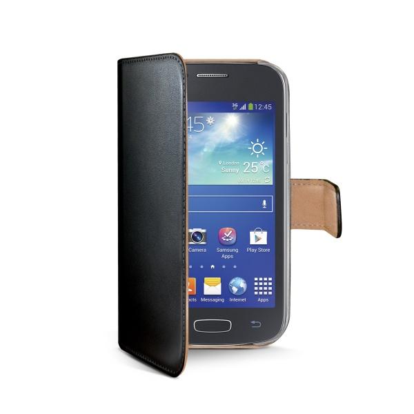 Kožené pouzdro typu kniha CELLY Wally pro Samsung G357 Galaxy Ace 4, černé