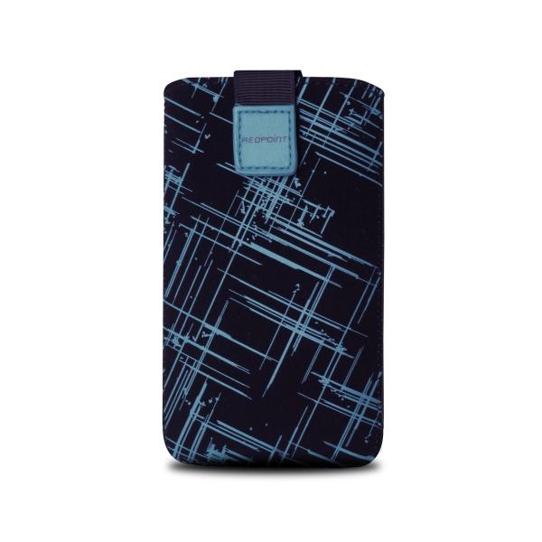 Univerzální pouzdro RedPoint Velvet, mikroplyš, motiv modrý proužek, velikost XL